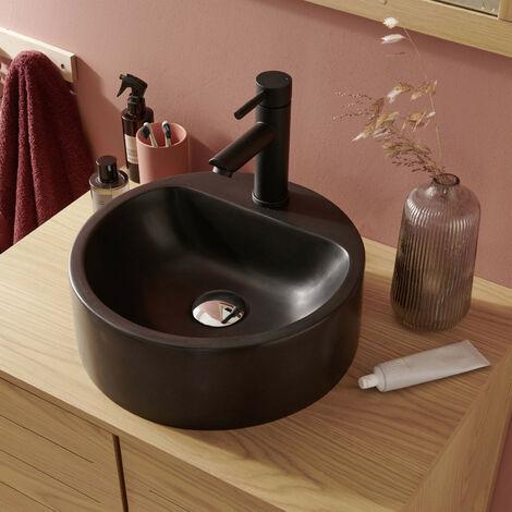 Vasque Salle de bain Ronde à Poser Noire en Résine de Synthèse 37 cm NORI - Noir