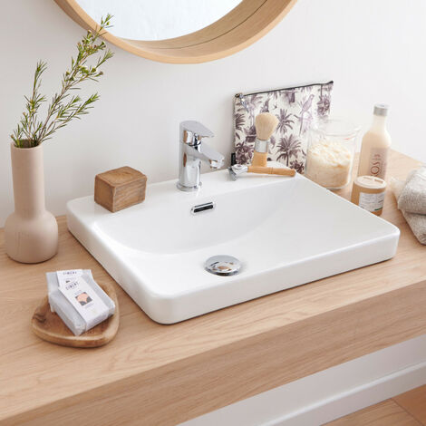 Vasque Salle de bain semi encastrée Céramique Blanche L48 x P37 cm LEA - Blanc