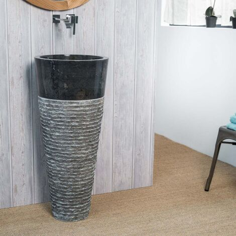 Vasque salle de bain sur pied en pierre FLORENCE noir - 300