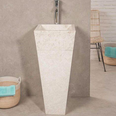 Vasque salle de bain sur pied en pierre pyramide GUIZEH crème - 599