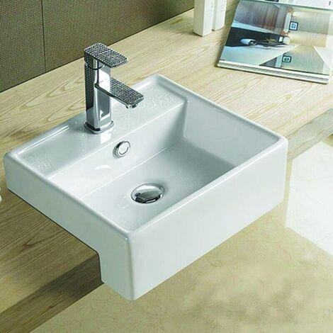 Vasque Semi Encastrable Carrée céramique - 41x41 cm - Pure