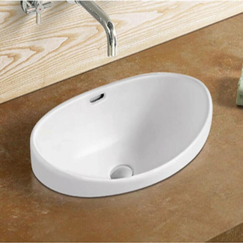 Vasque semi encastrable ovale céramique - 60x38 cm - Soft - 725