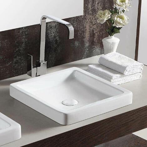 Vasque semi-encastrée carrée céramique blanche - 40x40 cm - Temp
