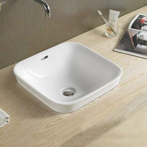 Vasque semi encastrée carrée - Céramique - 43x43 cm - Club