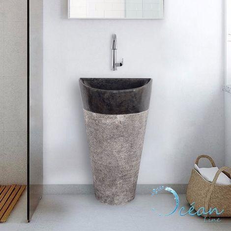 Vasque sur pied semi-circulaire en marbre noir 50 cm - Carla