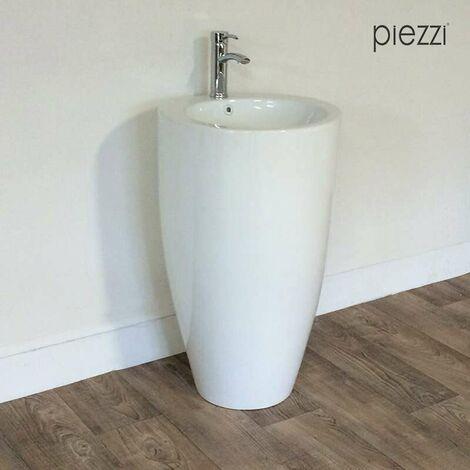 Vasque sur pied, Totem rond en céramique blanche 50 cm - Oréa