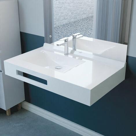 Vasque suspendue carrée EVIDENCE 90 cm déporté à gauche - blanc