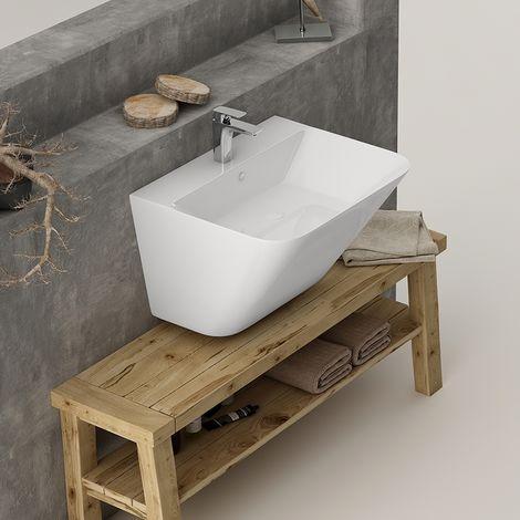 Vasque suspendue en céramique 55 cm avec plage de robinetterie - Evasio