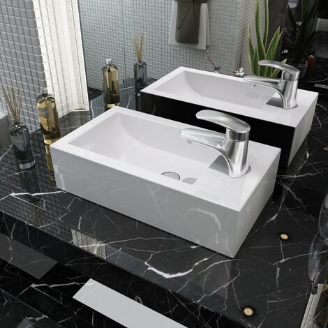 Vasque + trou de robinet Céramique Blanc 46 x 25,5 x 12 cm