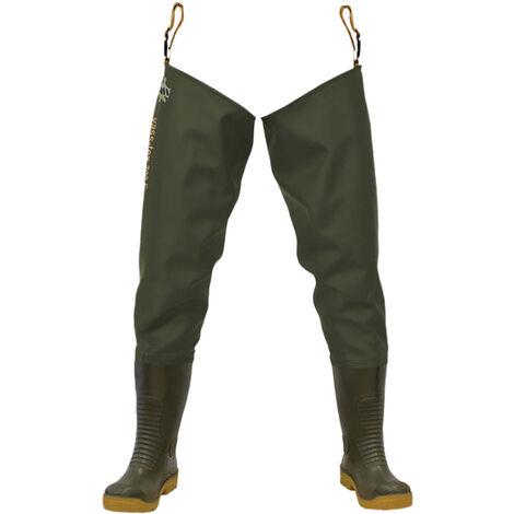 Vass VA700-67 Non-Studded Thigh Wader / Mens Boots / Safety Wellingtons (8 UK) (Green)