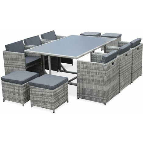 Vasto 10: 10-seater garden table and chair set, mixed grey ...