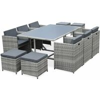 Vasto 10: 10-seater garden table and chair set, mixed grey / charcoal