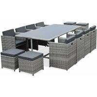 Vasto 12: 12-seater garden table & chairs, mixed grey / charcoal grey