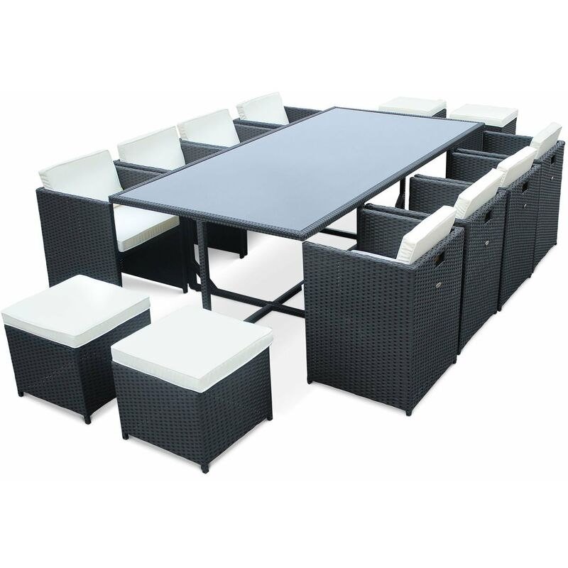 Superb Vasto 12 12 Seater Rattan Garden Table And Chairs Black Off White Ibusinesslaw Wood Chair Design Ideas Ibusinesslaworg
