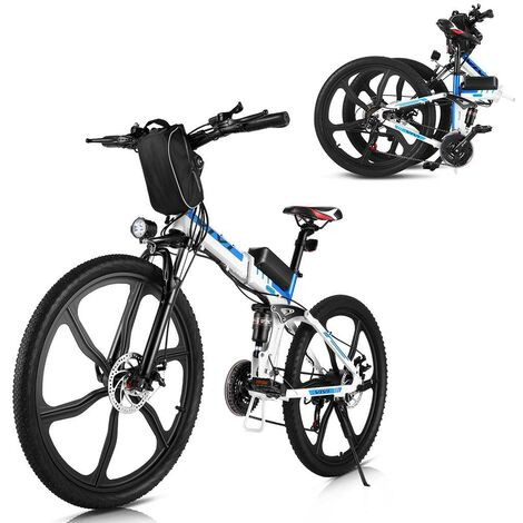 Vélo électrique pliant 26 pouces vélo de montagne électrique 250W 21 vitesses adulte frein à disque avec phare LED Blanc EU Prise - Blanc
