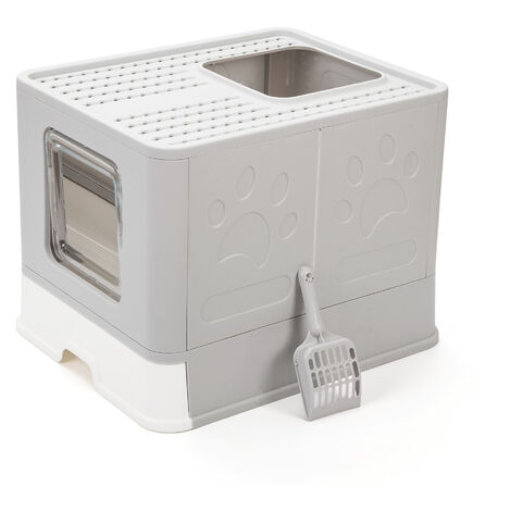 Vealind Foldable Cat Litter Tray Cats Litter Box with Top Entry & Exit XXL Extra Large Space Toilet Boxes with Trays, Lid and Pet Litter Shovel