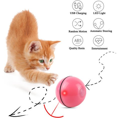 Vealind Interactive Cat Ball Toy Automatic Rotating Rolling USB Charging LED light Balls for Cats