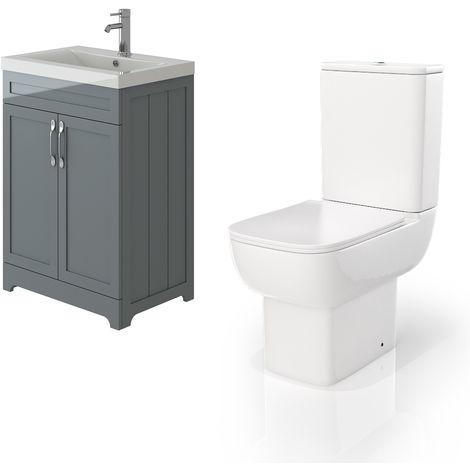 VeeBath Carlton Grey Traditional Vanity Basin Cabinet Unit & Florence Toilet