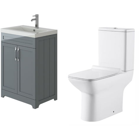 VeeBath Carlton Grey Traditional Vanity Basin Cabinet Unit & Geneve Toilet Set