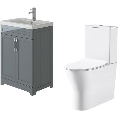 VeeBath Carlton Grey Traditional Vanity Basin Cabinet Unit & Milan Toilet Set