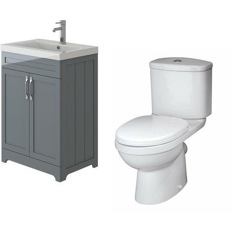 VeeBath Carlton Grey Traditional Vanity Basin Cabinet Unit & Sleek Toilet Set