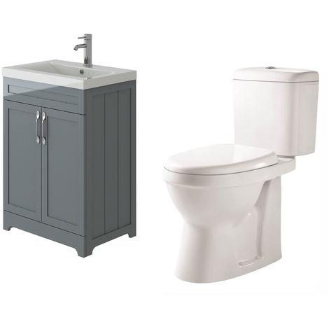 VeeBath Carlton Grey Traditional Vanity Basin Cabinet Unit & Verona Toilet Set