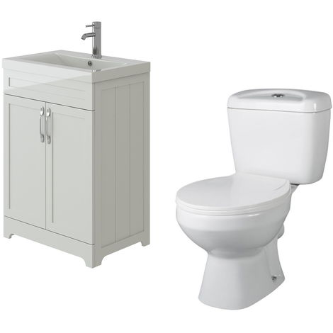 VeeBath Carlton White Traditional Vanity Basin Cabinet Unit & Base Toilet Set