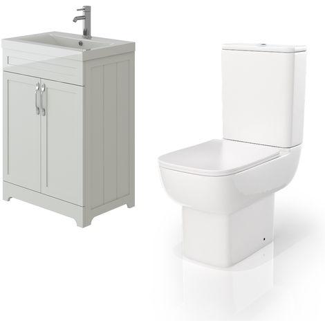 VeeBath Carlton White Traditional Vanity Basin Cabinet Unit & Florence Toilet