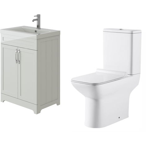 VeeBath Carlton White Traditional Vanity Basin Cabinet Unit & Geneve Toilet Set