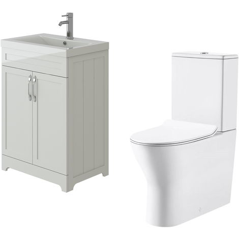 VeeBath Carlton White Traditional Vanity Basin Cabinet Unit & Milan Toilet Set