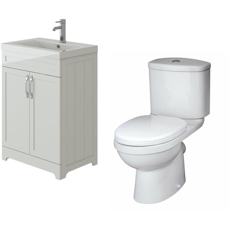 VeeBath Carlton White Traditional Vanity Basin Cabinet Unit & Sleek Toilet Set