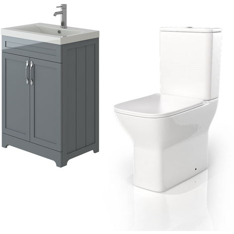 VeeBath Carlton White Traditional Vanity Basin Cabinet Unit & Venice CC Toilet