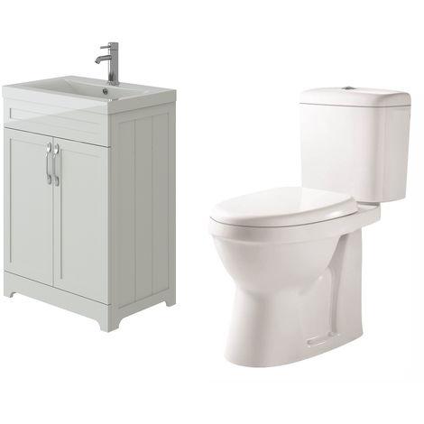 VeeBath Carlton White Traditional Vanity Basin Cabinet Unit & Verona Toilet Set