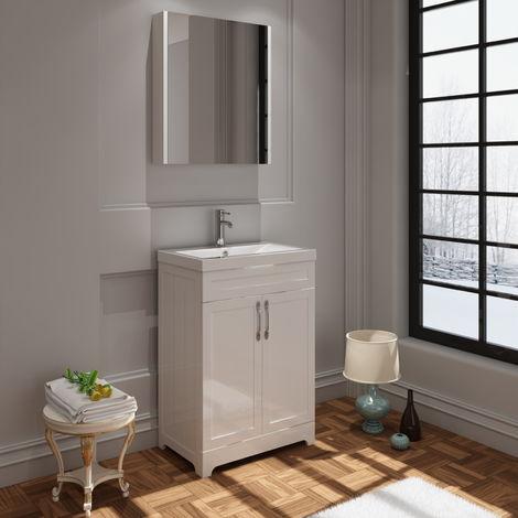 VeeBath Carlton White Vanity Basin Unit & Mirror Cabinet Furniture Set - 600mm