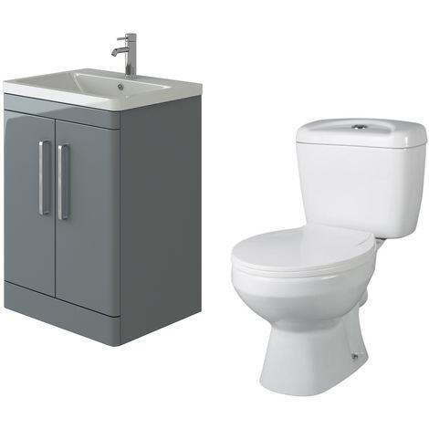 VeeBath Ceti 600mm Floor Grey Vanity Basin Cabinet Unit & Base Toilet Set