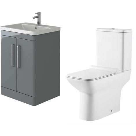 VeeBath Ceti 600mm Floor Grey Vanity Basin Cabinet Unit & Geneve Toilet Set