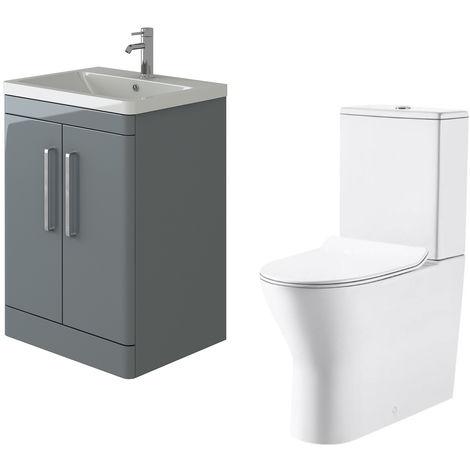 VeeBath Ceti 600mm Floor Grey Vanity Basin Cabinet Unit & Milan Toilet Set