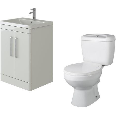 VeeBath Ceti 600mm Floor White Vanity Basin Cabinet Unit & Base Toilet Set