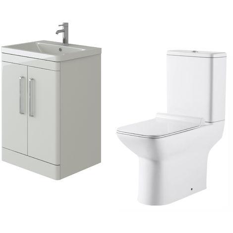 VeeBath Ceti 600mm Floor White Vanity Basin Cabinet Unit & Geneve Toilet Set