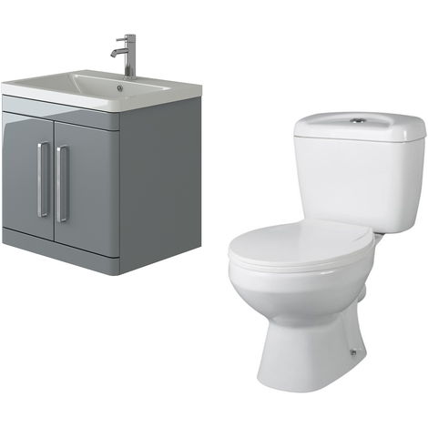 VeeBath Ceti 600mm Wall Hung Grey Vanity Basin Cabinet Unit & Base Toilet Set