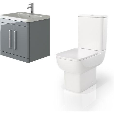 VeeBath Ceti 600mm Wall Hung Grey Vanity Basin Cabinet Unit & Florence Toilet