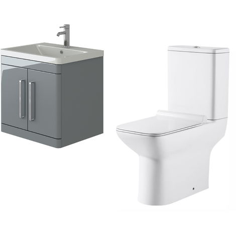 VeeBath Ceti 600mm Wall Hung Grey Vanity Basin Cabinet Unit & Geneve Toilet Set