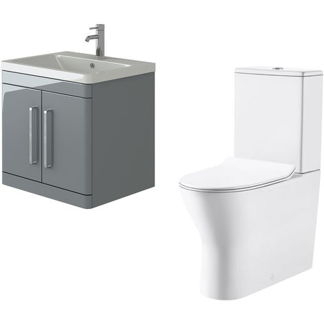 VeeBath Ceti 600mm Wall Hung Grey Vanity Basin Cabinet Unit & Milan Toilet Set