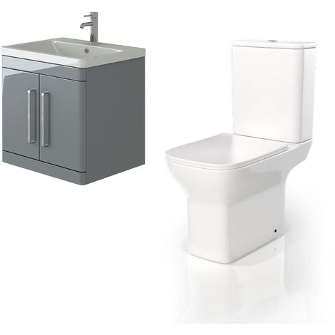 VeeBath Ceti 600mm Wall Hung Grey Vanity Basin Cabinet Unit & Venice CC Toilet