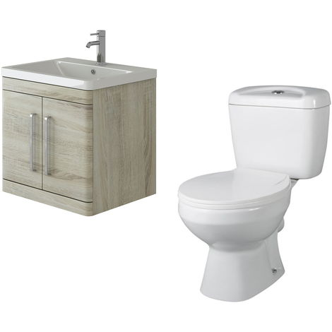VeeBath Ceti 600mm Wall Hung Oak Vanity Basin Cabinet Unit & Base Toilet Set