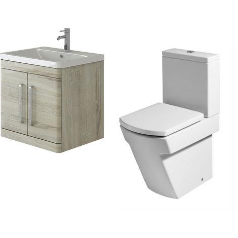 VeeBath Ceti 600mm Wall Hung Oak Vanity Basin Cabinet Unit & Elstra Toilet Set