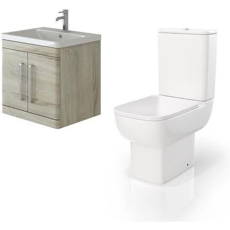 VeeBath Ceti 600mm Wall Hung Oak Vanity Basin Cabinet Unit & Florence Toilet
