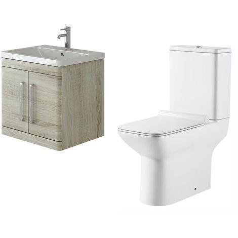 VeeBath Ceti 600mm Wall Hung Oak Vanity Basin Cabinet Unit & Geneve Toilet Set
