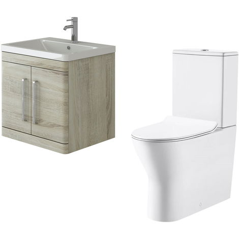 VeeBath Ceti 600mm Wall Hung Oak Vanity Basin Cabinet Unit & Milan Toilet Set