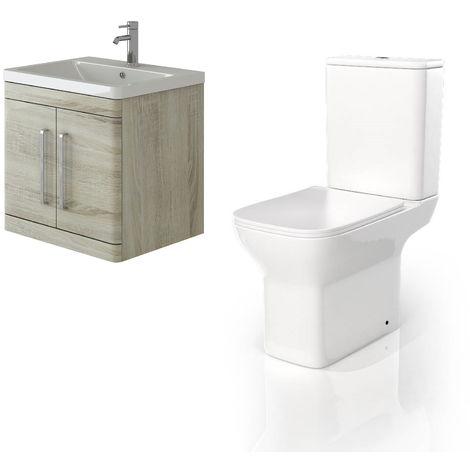VeeBath Ceti 600mm Wall Hung Oak Vanity Basin Cabinet Unit & Venice CC Toilet